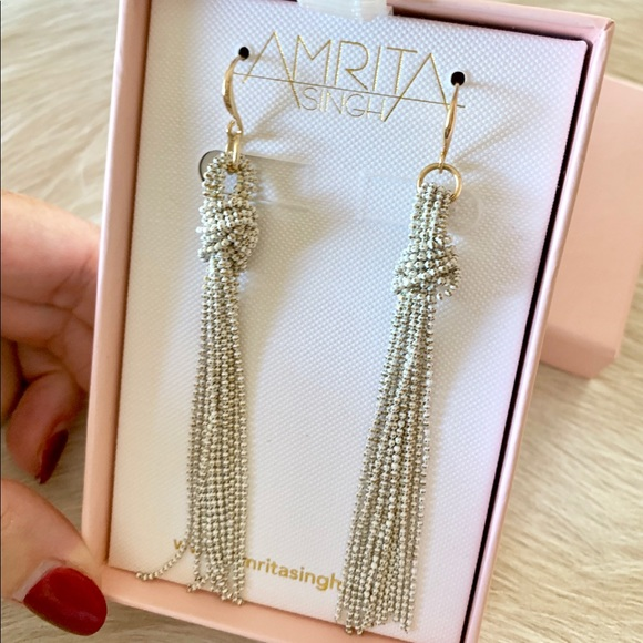 "Amrita Singh Jewelry - Amrita Singh ""whitewashed"" gold tassel earrings"